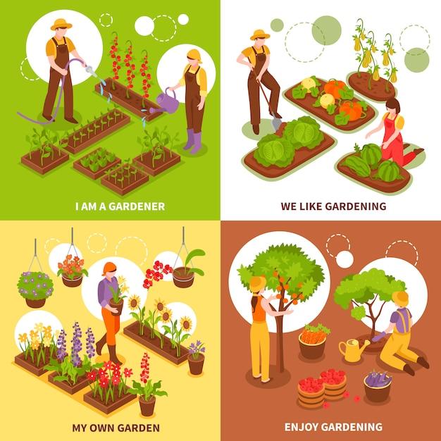 Ensemble De Concept Isométrique De Jardinage Vecteur gratuit
