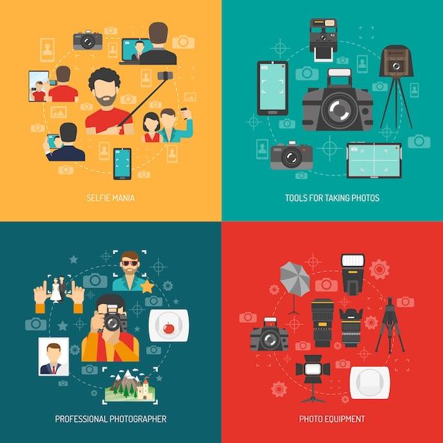 Ensemble de concept de photographie Vecteur gratuit