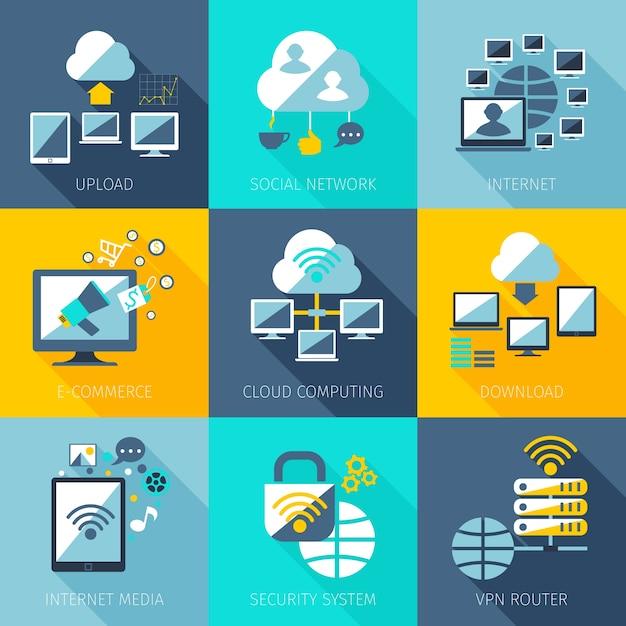 Ensemble de concept de réseau Vecteur gratuit