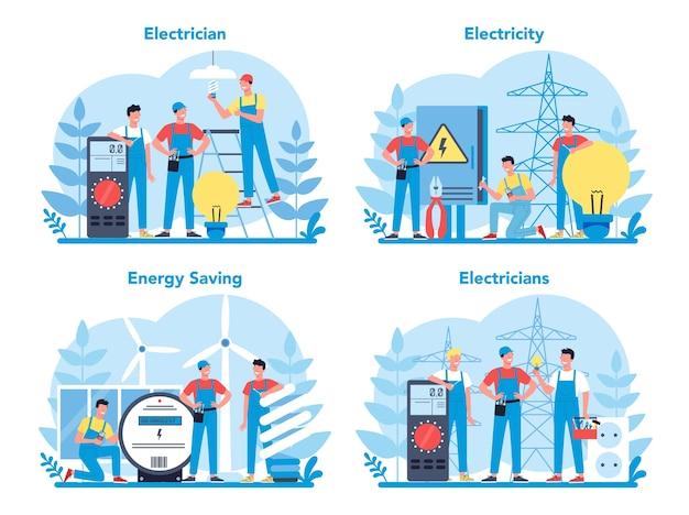 Ensemble De Concept De Service De Travaux D'électricité. Travailleur Professionnel Dans L'élément électrique De Réparation Uniforme. Technicien De Réparation Et D'économie D'énergie. Vecteur Premium