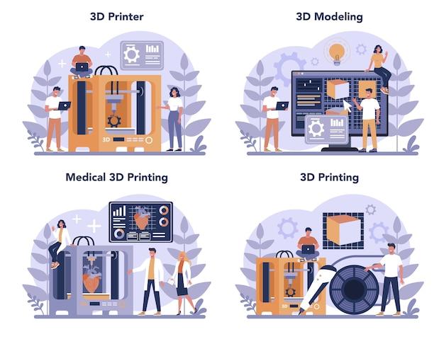 Ensemble De Concept De Technologie D'impression 3d. Matériel D'imprimante 3d Et Ingénieur. Prototypage Et Construction Modernes. Illustration Vectorielle Isolé Vecteur Premium
