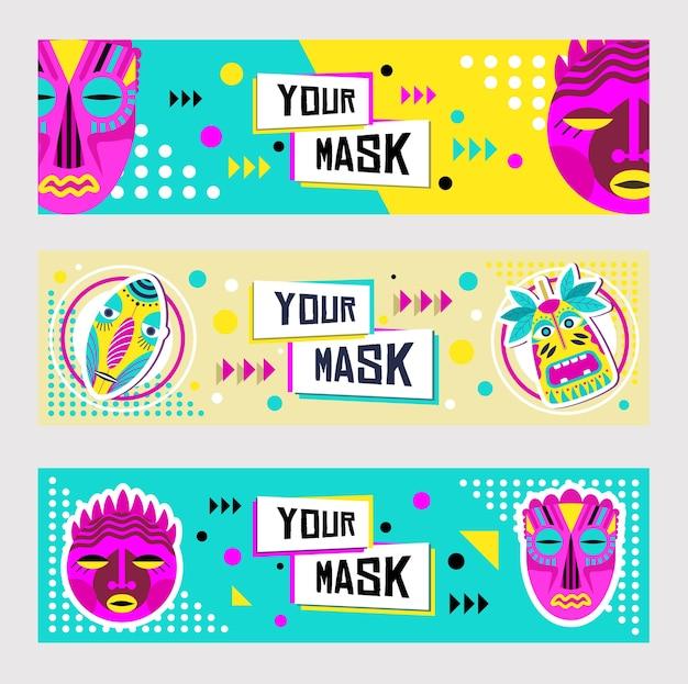 Ensemble De Conception De Bannière De Masques Tribaux. Décoration Traditionnelle, Souvenir Tropical En Illustration Vectorielle De Style Boho Avec Des échantillons De Texte Vecteur gratuit