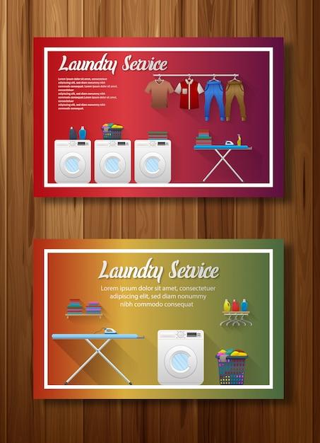 Ensemble de conception de bannière de service de blanchisserie Vecteur Premium