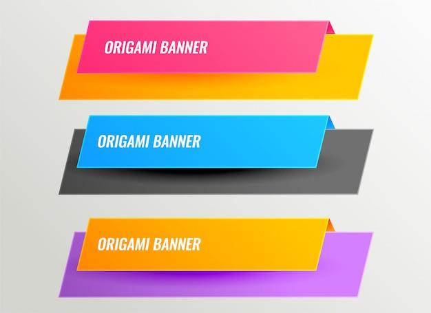 Ensemble de conception de bannières d'origami lumineux Vecteur gratuit