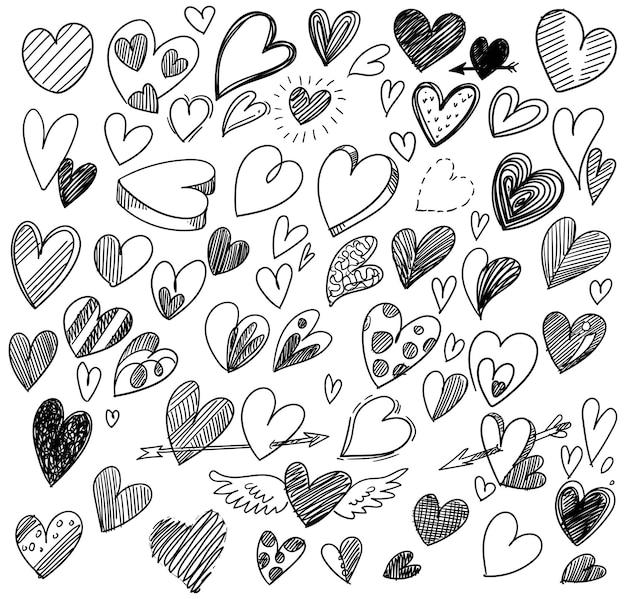 Ensemble De Conception De Croquis De Différents Coeurs Doodle Vecteur gratuit