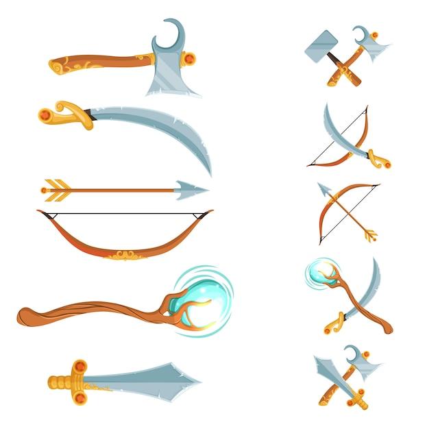 Ensemble de conception de dessin animé fantaisie croisé et dans la rangée épées, haches, bâtons et arme à l'arc isolé on white Vecteur Premium