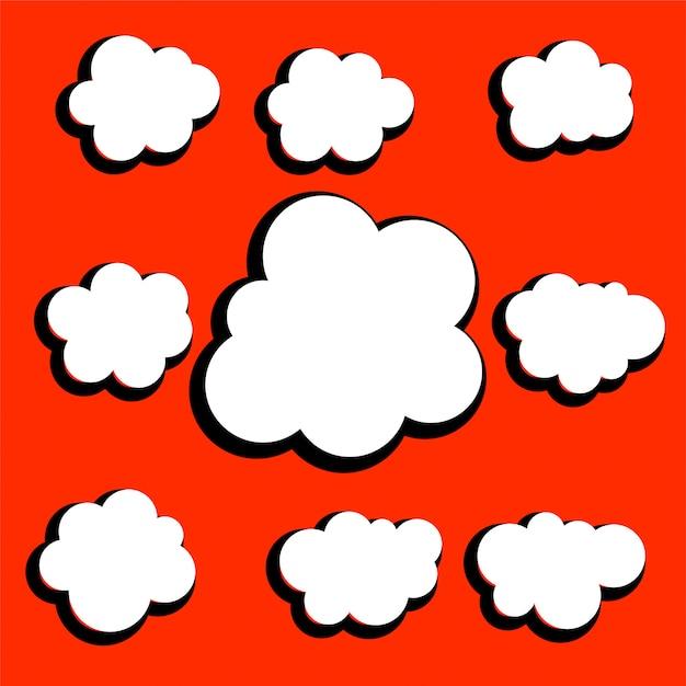 Ensemble de conception différents nuages comiques Vecteur gratuit