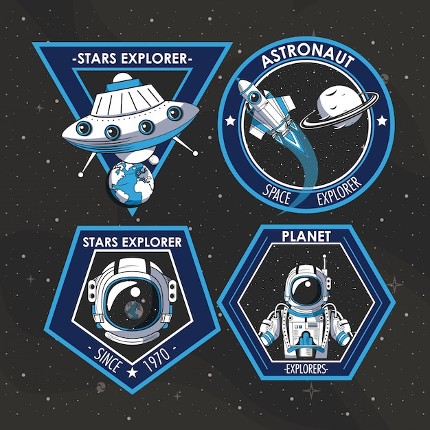 Ensemble de conception d'emblèmes de patches explorateur spatial Vecteur gratuit