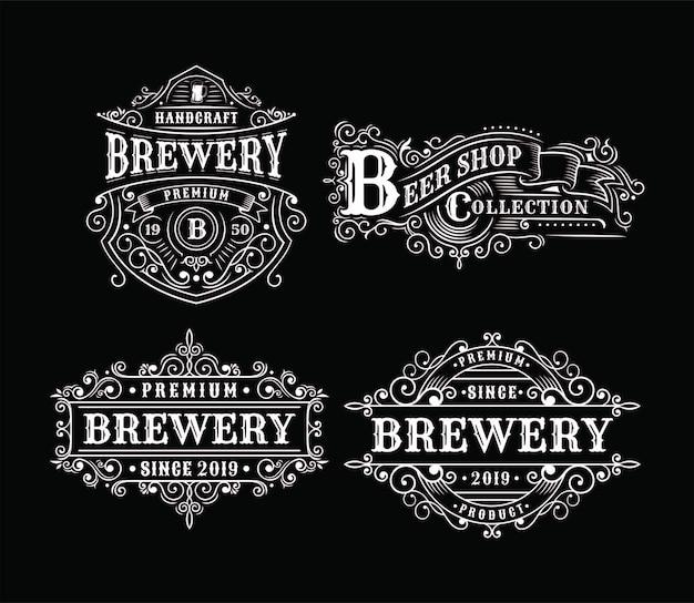 Ensemble de conception d'étiquettes de brasserie vintage, calligraphie et éléments de typographie de style design Vecteur Premium