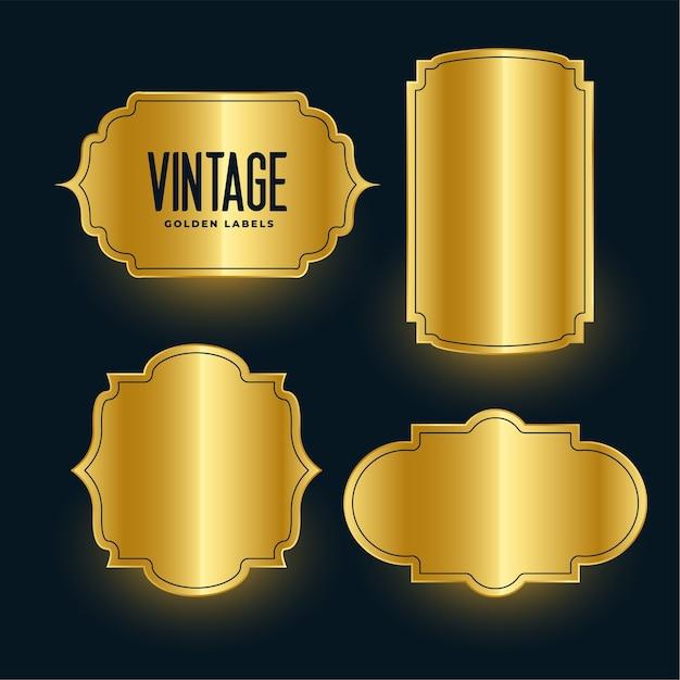 Ensemble De Conception D'étiquettes Brillantes Vintage Doré Royal Vecteur gratuit
