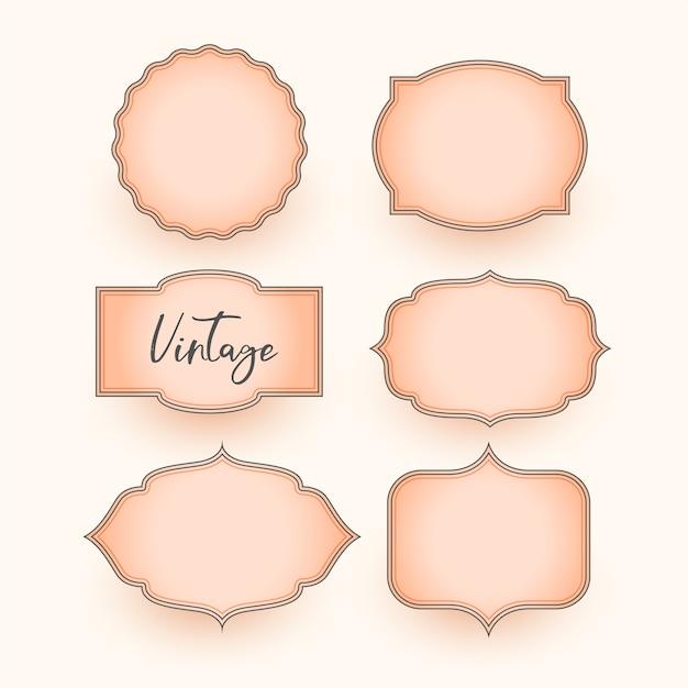 Ensemble De Conception D'étiquettes De Mariage Vintage Classique Vecteur gratuit