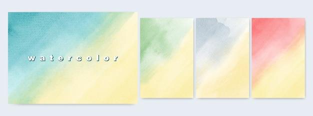 Ensemble De Conception D'illustrations Abstraites Gradients De Jaune Aquarelle Coloré Lumineux Vecteur Premium