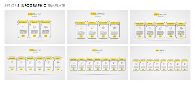 Ensemble De Conception De Ligne Mince Infographique Avec Des Icônes Et 3, 4, 5, 6, 7, 8 Options Ou étapes. Concept D'entreprise. Vecteur Premium