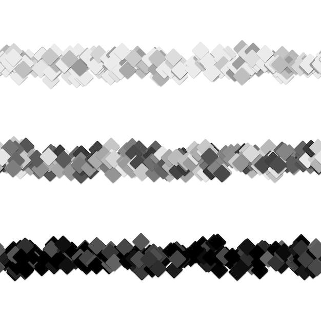 Ensemble de conception de ligne séparatrice de page de motif carré aléatoire répétable - éléments graphiques vectoriels à partir de carrés diagonaux Vecteur gratuit