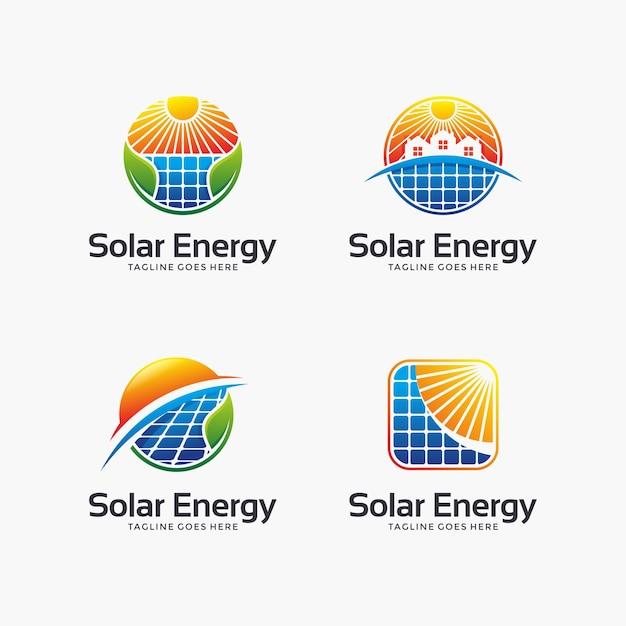 Ensemble De Conception De Logo Abstrait énergie Solaire. Vecteur Premium