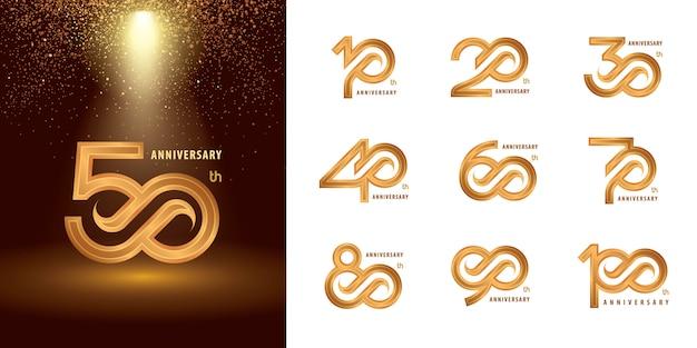 Ensemble De Conception De Logo Anniversaire 10 à 100, Logo Anniversaire Des Années Vecteur Premium