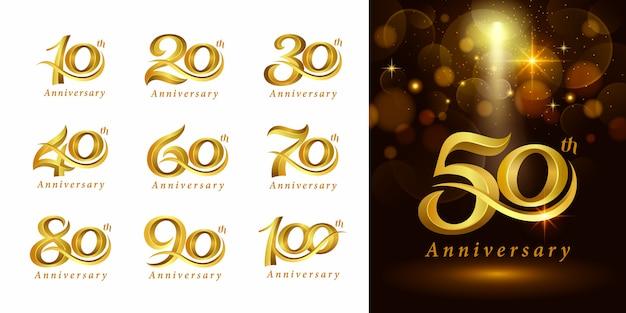 Ensemble De Conception De Logo Anniversaire, élégant Logo Classique, Lettres De Numéro Serif Vintage Et Rétro Vecteur Premium
