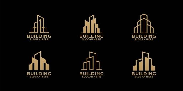 Ensemble De Conception De Logo D'architecture Dans Le Style D'art En Ligne Vecteur Premium