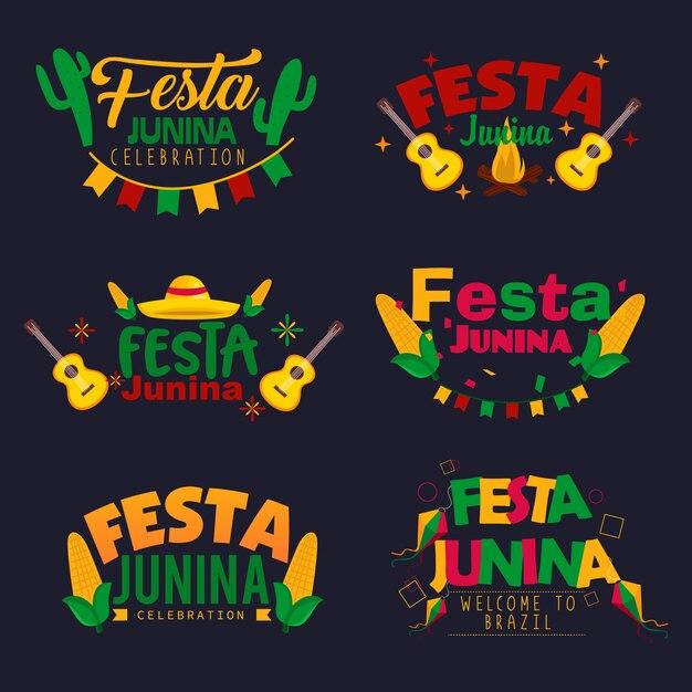 Ensemble de conception de logo festa junina Vecteur Premium