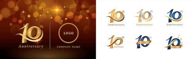 Ensemble De Conception De Logotype 10e Anniversaire, Dix Ans Célébrant Le Logo Anniversaire Vecteur Premium
