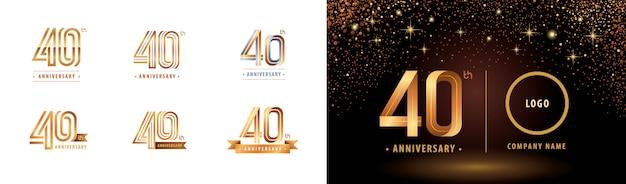 Ensemble De Conception De Logotype 40e Anniversaire, Quarante Ans Célèbrent Le Logo Anniversaire Vecteur Premium