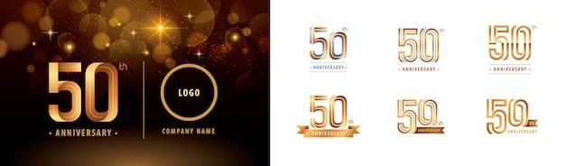 Ensemble De Conception De Logotype 50e Anniversaire, Cinquante Ans Célèbrent Le Logo Anniversaire Vecteur Premium