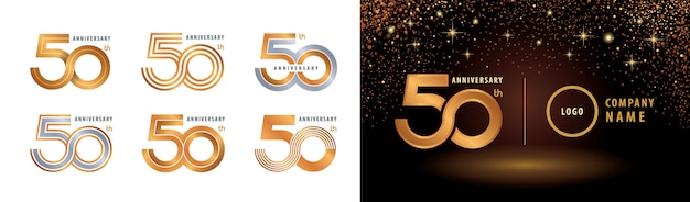 Ensemble De Conception De Logotype 50e Anniversaire Vecteur Premium