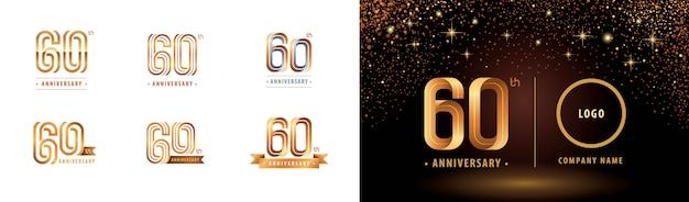 Ensemble De Conception De Logotype 60e Anniversaire, Soixante Ans Célèbrent Le Logo Anniversaire Vecteur Premium