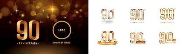 Ensemble De Conception De Logotype 90e Anniversaire, 90 Ans Célèbrent Le Logo Anniversaire Vecteur Premium