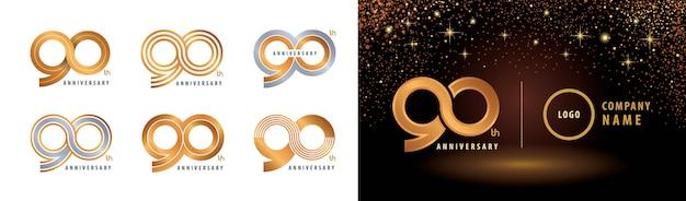 Ensemble De Conception De Logotype 90e Anniversaire, Célébration De Quatre-vingt-dix Ans Vecteur Premium