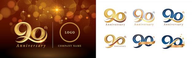 Ensemble De Conception De Logotype 90e Anniversaire, Quatre-vingt-dix Ans Célébrant Le Logo Anniversaire Vecteur Premium