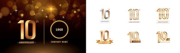 Ensemble De Conception De Logotype Du 10e Anniversaire, Dix Ans Célèbrent Le Logo D'anniversaire Vecteur Premium