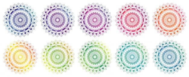 Ensemble De Conception De Mandala En Différentes Couleurs Vecteur gratuit