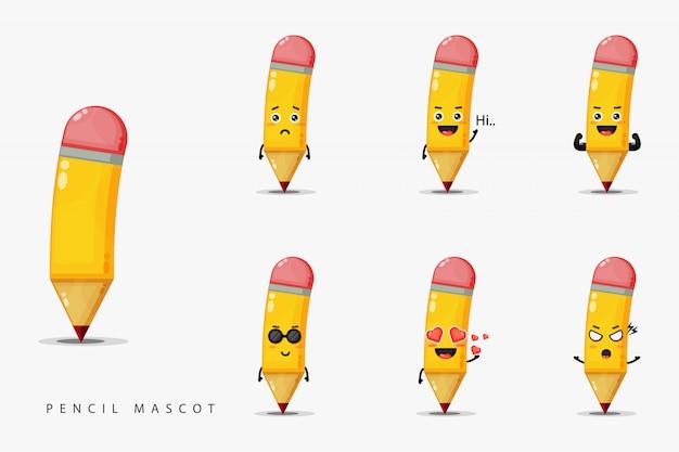 Ensemble De Conception De Mascotte Crayon Mignon Vecteur Premium