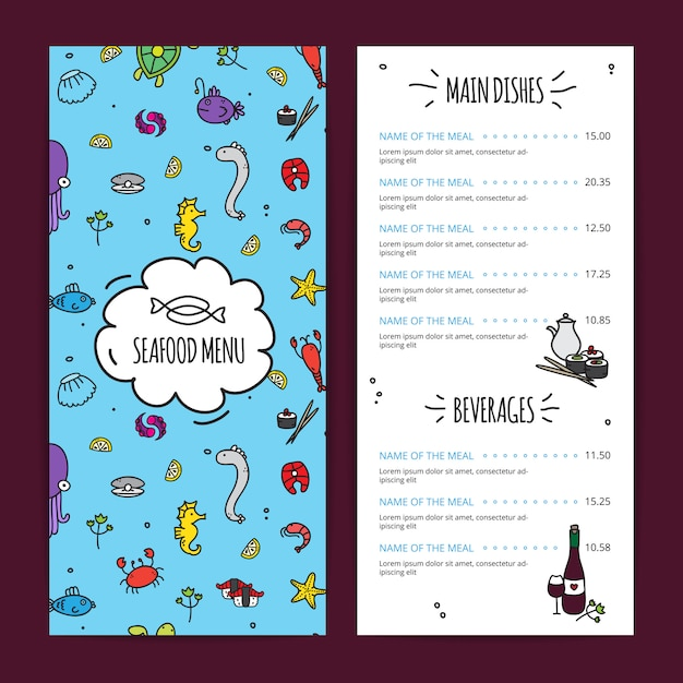 Ensemble de conception de menu de fruits de mer Vecteur gratuit