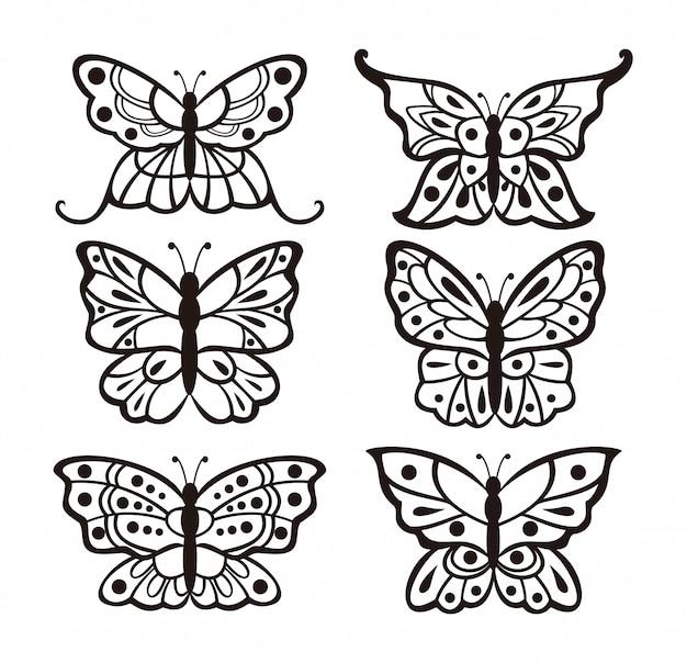 Ensemble De Conception De Papillons Vecteur Premium