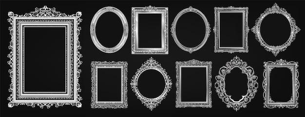 Ensemble de conception de photo de cadre royal or invitation Vecteur Premium