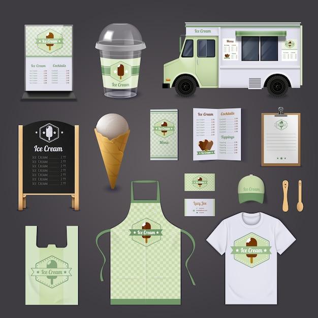 Ensemble de conception réaliste d'entreprise de crème glacée Vecteur gratuit