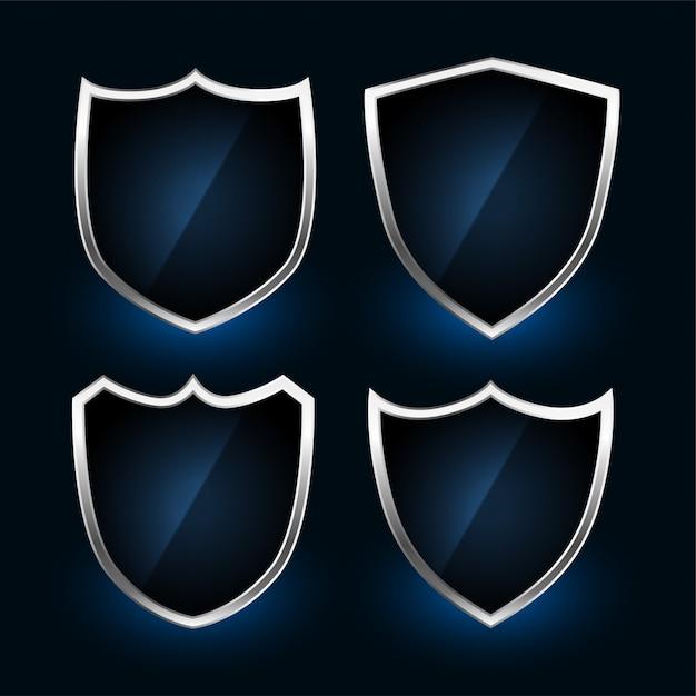Ensemble De Conception De Symboles Ou De Badges De Bouclier Métallique Vecteur gratuit