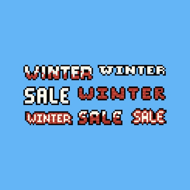Ensemble de conception de texte vente hiver pixel art 8bit. Vecteur Premium