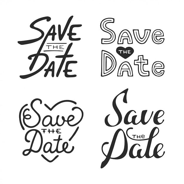 Ensemble de conception de typographie dessinés à la main de vecteur Vecteur Premium