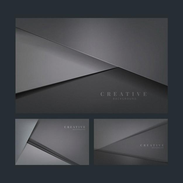 Ensemble de conceptions de fond créatif abstrait en gris foncé Vecteur gratuit