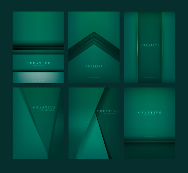 Ensemble de conceptions de fond créatif abstrait en vert émeraude Vecteur gratuit