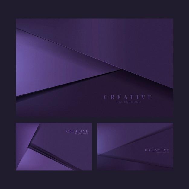 Ensemble de conceptions de fond créatif abstrait en violet foncé Vecteur gratuit