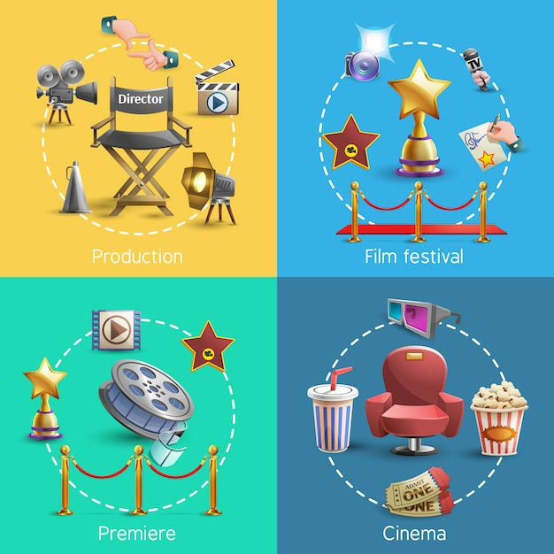 Ensemble de concepts de cinéma Vecteur gratuit