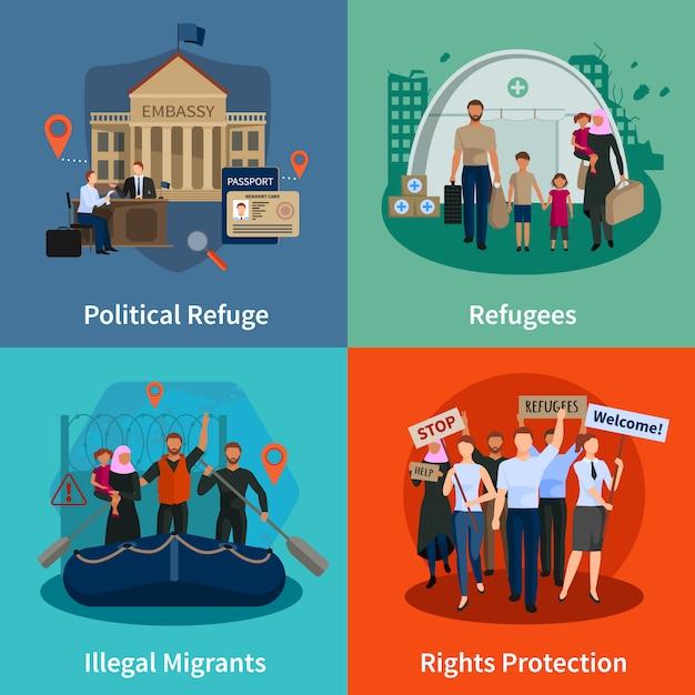 Ensemble de concepts de réfugiés apatrides de réfugiés politiques immigrants illégaux protection des droits Vecteur gratuit