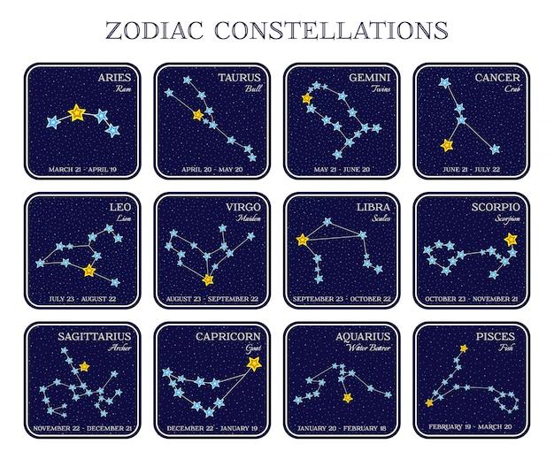 Ensemble de constellations du zodiaque dans des cadres carrés, style de dessin animé mignon Vecteur Premium