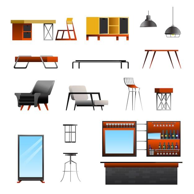 Ensemble Constructeur Loft Cafe Vecteur gratuit