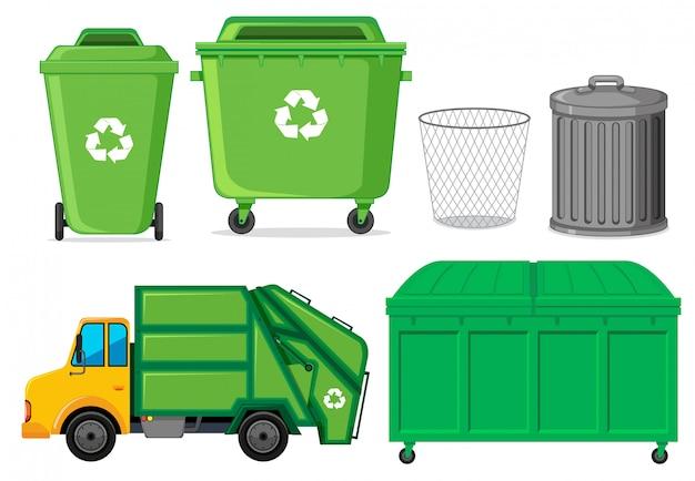 Ensemble de conteneur à déchets Vecteur gratuit