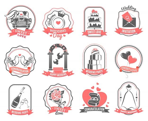 Ensemble de contour emblèmes de fiançailles mariage Vecteur gratuit